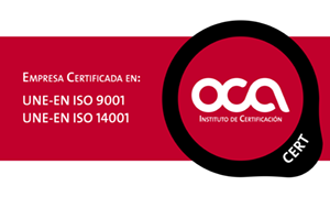 Empresa Certificada en UNE-EN ISO 9001 y UNE-EN ISO 14001